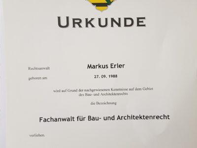 Urkunde Fachanwalt Für Bau- Und Architektenrecht